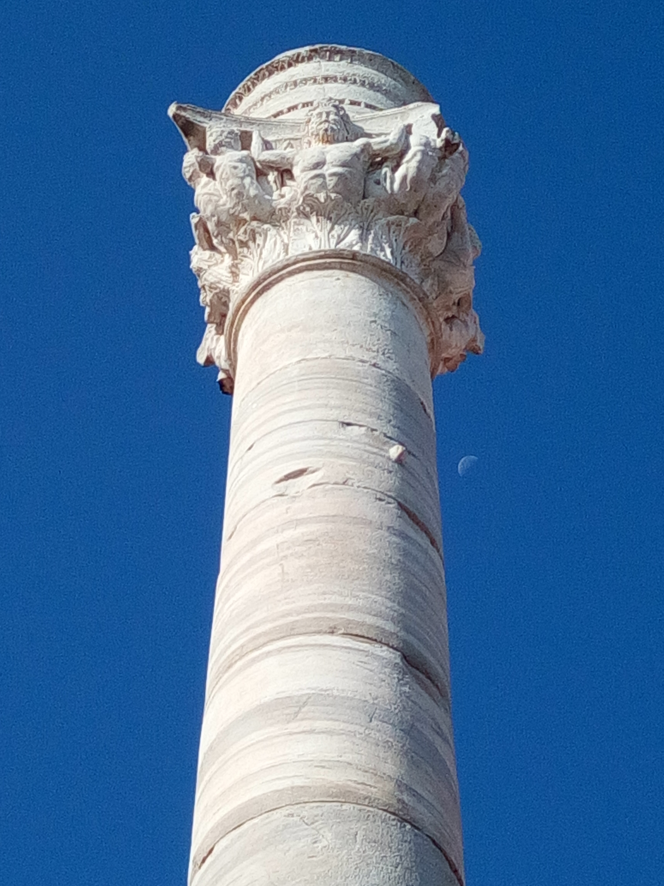 Roman Column and the moon